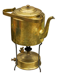 Old brass kettle and primus. Clipping path included.