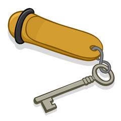Hotel key on a metal tag