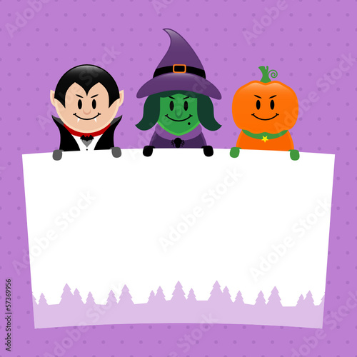 Halloween Vampire, Witch & Pumpkin Label Purple