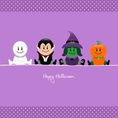 Halloween Mummy, Vampire, Witch & Pumpkin Purple Dots