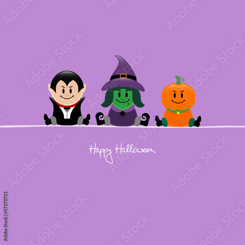 Halloween Vampire, Witch & Pumpkin Purple