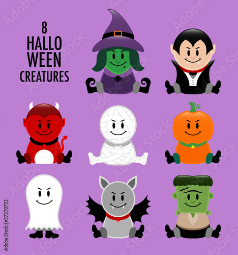 Collection Halloween Creatures Purple