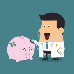Doctor holding stethoscope to pink piggy bank, Business concept