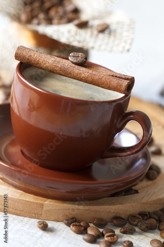 Black coffee with cinnamon