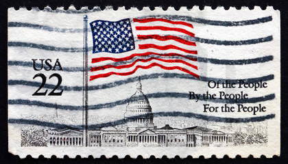 Postage stamp USA 1985 Flag over Capitol Dome