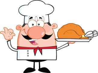 Cute Little Chef Cartoon Character Holding Whole Roast Turkey