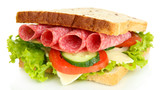 Tasty sandwich with salami sausage and vegetables, isolated