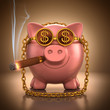 Piggy Bank Rich. Clipping Path Included.