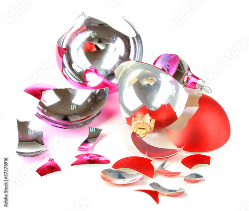 Broken Christmas Toys isolated on white