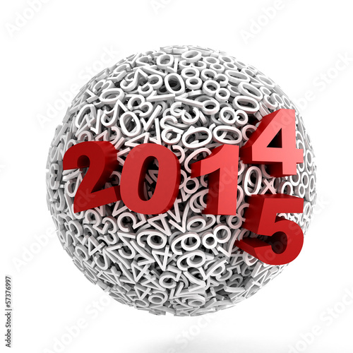 Sphere made of numbers on white background
