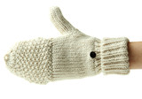 Hand in wool mitten, isolated on white