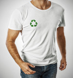 Man wearing white t-shirt with recycle symbol