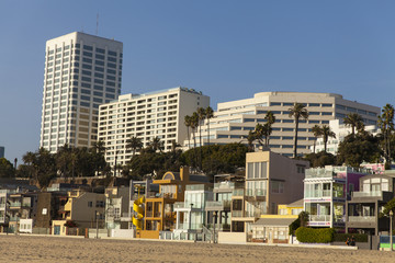 Beach front properties along the Santa Monica coast.