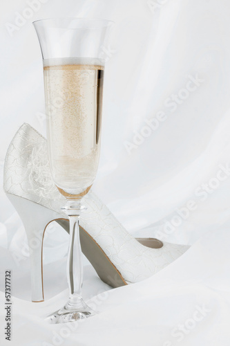 Wedding  glass  and shoes