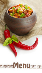 Chili Corn Carne - traditional mexican food, in pot,