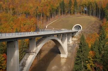 Rundbogenbrücke im Bau mit Tunneleingang im Herbst