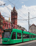 Green tram in Basel