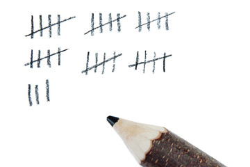 Counting days by drawing sticks isolated on white