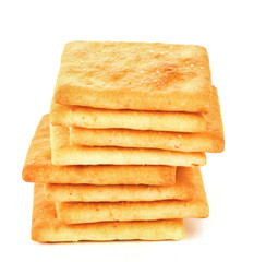 Delicious crackers isolated on white
