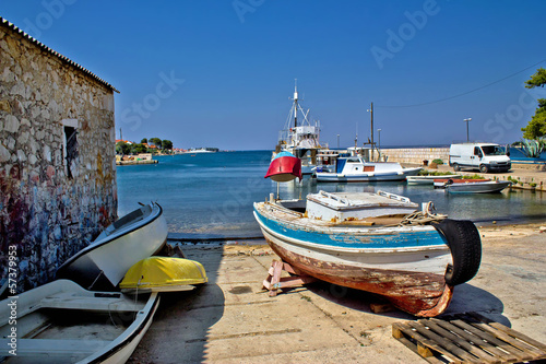Small harbor in fishermen village
