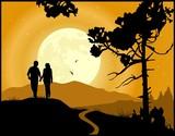 Couple in love walking in the moonlight