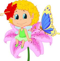 Baby fairy elf sitting on flower