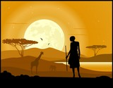African hunter, animal silhouettes and moon rise