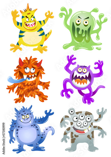 Set of funny cartoon monsters