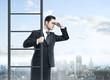businessman climbing on ladder