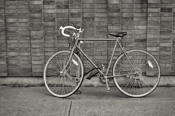 Vintage bicycle parked on the street