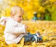little girl among autumn leaves