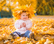 cute little girl among maple leaves