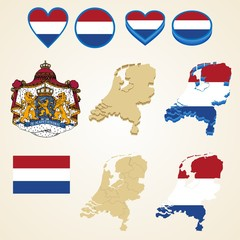 Netherlands Map, Vector 3D pack of Netherlands and flag