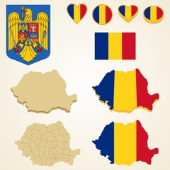 Romania Map, Vector 3D pack of Romania and flag