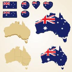 Australia Map, Vector 3D pack of Australia and flag