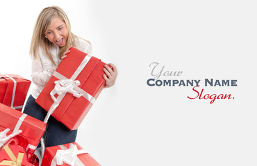 Amazed woman receiving gifts