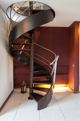 Spiral staircase in a modern luxury house