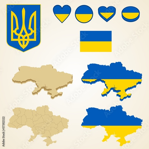 Ukraine Map, Vector 3D pack of Ukraine and flag