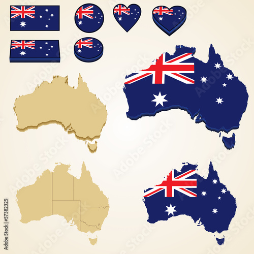 Australia Map, Vector 3D pack of Australia and flag