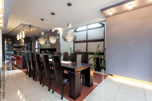 Huge table in a modern dining room