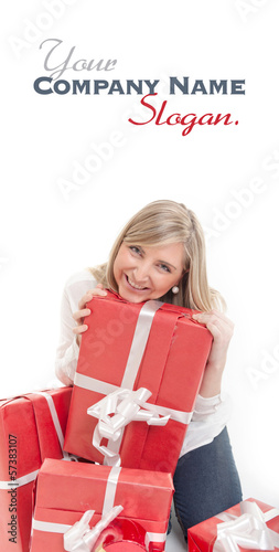 Happy cute blonde receiving presents