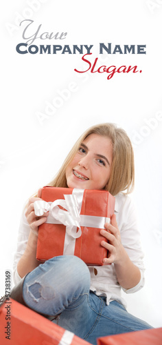Happy teenager with presents close-up