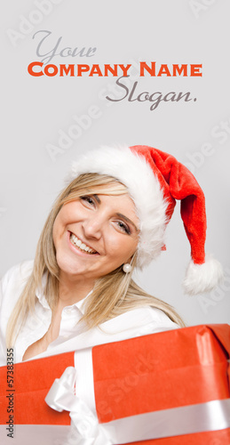 Laughing blonde and Christmas