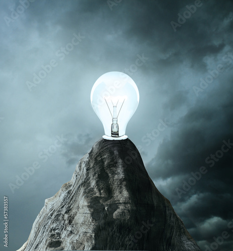 rock with lamp