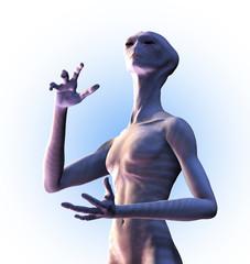 Alien Looks Heavenward- on white