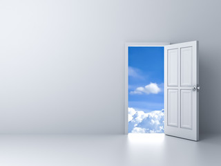 Opened door to blue sky with empty white wall background