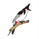 Red-whiskered bulbul bird vector poster