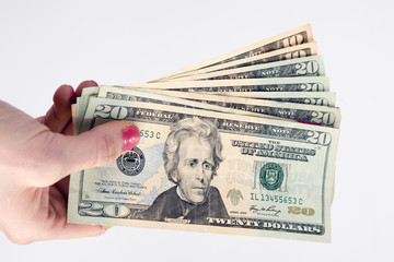 Hand Holds Cash Payment Currency Twenty Dollar Bills Money
