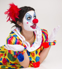 Clown Wondering Close Portrait Bright Beautiful Female Perform
