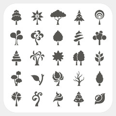 Tree icons set on white background